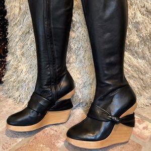 SKY Leather Black Knee High Wood Platform Boots